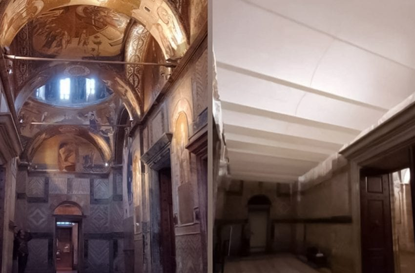 Chora Museum's frescos and icons covered